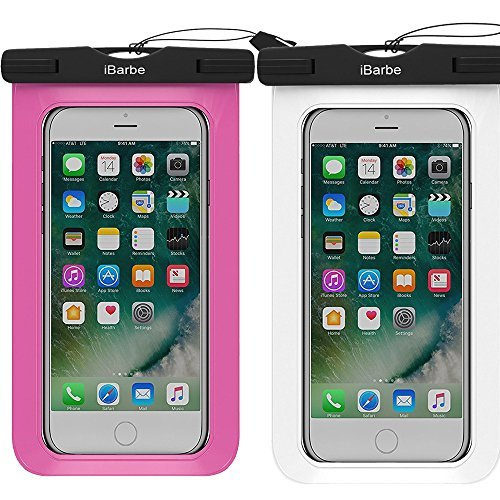 iBarbe 2 Pack Wasserdicht Fall Herrenohrringe, Universal Handy TPU Dry Bag für iPhone 7 7 Plus 6S 6/6S Plus 5/S/SE 5 C Samsung Galaxy Note 5 S8 S8 Plus S 8 S7 S6 Edge S5 Etc. zu 14,5 cm, Weiß + Rose - Für äußere Note Box Case Edge