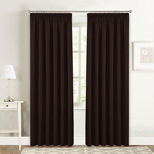 Cortinas Negras Opacas para Dormitorio Modernas - PONY DANCE Cortinas Fruncidas Riel de Salon, 228 x 228 cm (An x Al), 1 Par