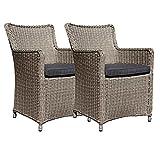 dasmöbelwerk 2er Set Polyrattan Stuhl mit Sitzpolstern Rattan Stuhl Relax Sessel Gartenmöbel Gartenstuhl Lilie Grau