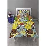 Pokemon Catch Kids niños reversible giratorio cama individual juego de funda de edredón