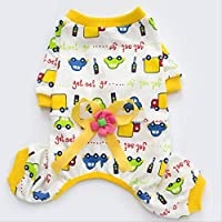 AHJSN Pet Clothing Casual Home Service Dog Clothes Four Feet Printed Teddy Small Dog Pajamas S [Chest Circumference 32Cm * Back Length 22Cm * Neck Circumference 21Cm] Yellow