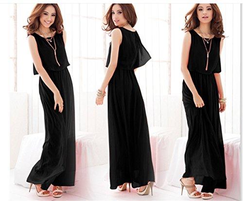 YOGLY Damen Kleider A line Chiffon Dress Summer Kurzarm Sommer Strandkleid Hipster Kleider Lang Elegant Schwarz