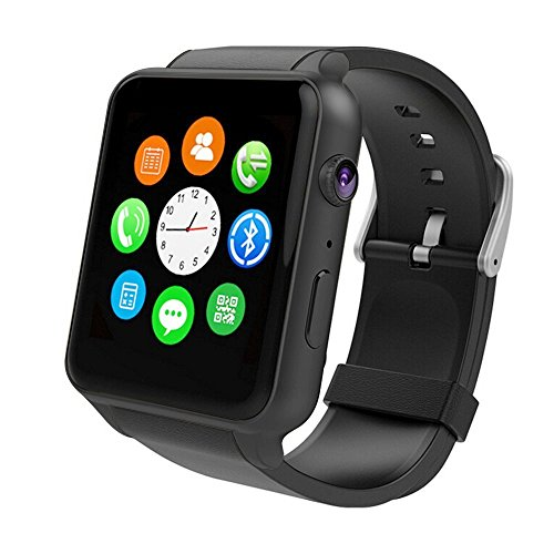 Smart Watch With Heart Rate Monitor,Bluetooth Smart Watches Supports SIM Card Works With Samsung, Apple iPhone etc Android and iOS System Smartphones (Black)