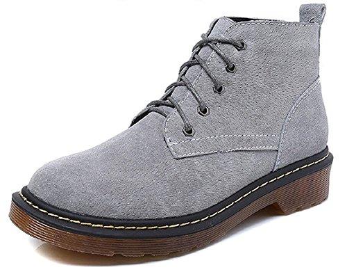 JiYe Damen Schuhe, Wildleder, Klassische Stiefeletten, Grau (Suede-Grey), 38 (Jean Grey Kostüm Für Verkauf)