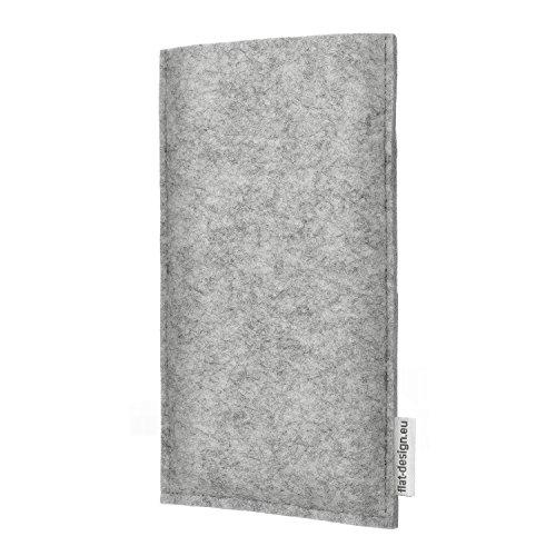 flat.design Smartphonehülle ÉVORA für Apple iPhone 8 Plus - maßgefertigte Schutztasche aus 100% Wollfilz (hellgrau) und echtem Kork - Pouch Handy Filzhülle im Slim fit Design für Apple iPhone 8 Plus hellgrau