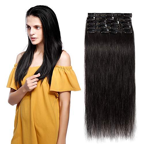 Extension Clip Capelli Veri Nero 8 Fasce con 18 Clips 35cm 14' 100% Remy Human Hair Lisci Naturali Parrucca Donna 60g #1B Nero Naturale