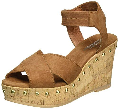 Shoe Biz Wedge, Sandali con Zeppa Donna Marrone (Suede Cognac)
