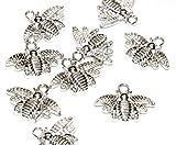 Just Say Beads, Breloques en forme d'abeille argentée pour bracelets, lot de 20