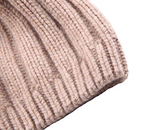 Miuk femmes 100%  pur cachemire Basic Bonnet en tricot avec un Woobies Gris