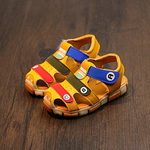 Scothen Plage sandales d'été fermée Velcro chaussures de marche en plein air ultra-léger respirant chaussures plates unisexe Enfants Garçons Filles yellow