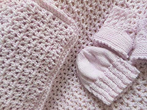 Crochet chunky blanket, baby knitted booties, baby knit beanie hat, baby soft yarn, soft pinky lilac pram set