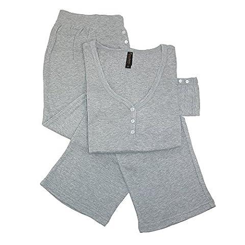 Pajama Drama - Ensemble de pyjama - Uni - Femme taille unique - gris - Large