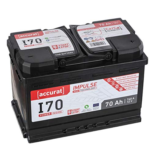 Accurat AGM Autobatterie Starter I70 12V 70Ah zyklenfest 760A leistungsstarke und effiziente Versorgung für Start-Stop/Hybrid Fahrzeuge, wartungsfrei