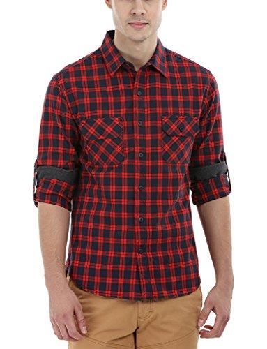 8. Zobello Men's Oxford Check Casual Shirt(11135A_Navy/Cherry Red Check_Medium)