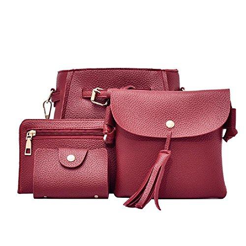 niceEshop(TM) Femme Sac à Main en Cuir PU + Sac à Bandoulière + Porte-monnaie + Porte-cartes 4pcs Set vin rouge