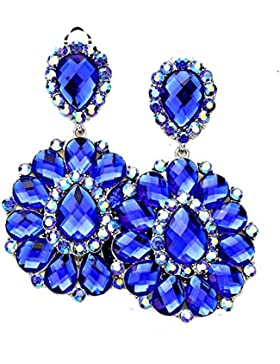 Schmuckanthony Abendschmuck Lange Ohrclips Clip On Clips Ohrringe Acryl Königsblau Royalblau und Kristall Aurora...