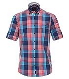 Casa Moda - Casual Fit - Herren Freizeit 1/2-Arm-Hemd in Blau/Rot mit Button-Down-Kragen (982974500), Farbe:Blau (100), Größe:XXL