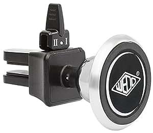Wedo 06015054 Dock-IT Premium KFZ Magnet Halterung für Smartphone/Auto Lüftungsschlitz, Metall Kugelgelenk, gummierter Stecker silber/schwarz