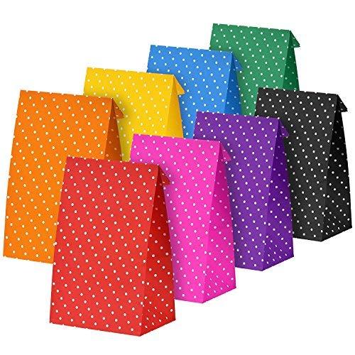 (BBTO 24 Stück Punkt Papier Taschen Party Geschenk Lebensmittelgeschäft Tasche Mittagessen Flachen unteren Kraftpapier Taschen, Mehrfarbig)