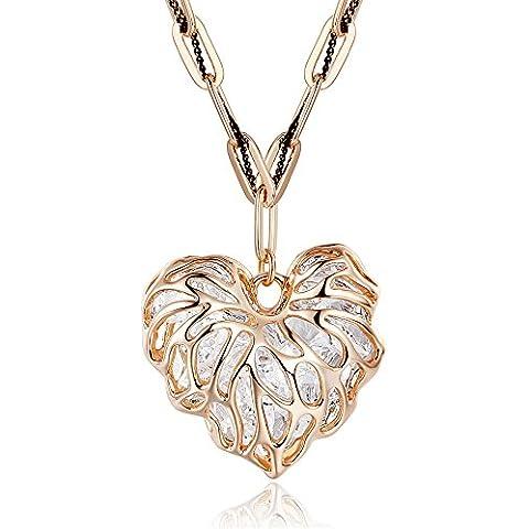 Secreto del invierno moda cristal exquisito de aleación de doble amor Hollow-Out corazón oro rosa Jersey collar de cadena