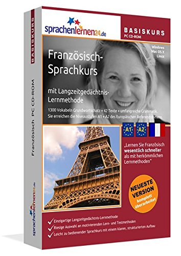 Französisch-Basiskurs mit Langzeitgedächtnis-Lernmethode von Sprachenlernen24: Lernstufen A1 + A2. Französisch lernen für Anfänger. Sprachkurs PC CD-ROM für Windows 10,8,7,Vista,XP / Linux / Mac OS X