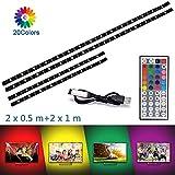Luz de tira LED Luz de luz de fondo de TV Kit de iluminación de polarización con 20 colores USB RGB SMD5050 Iluminación de fondo impermeable flexible para fondo de computadora de TV(2x50cm,2x1m)