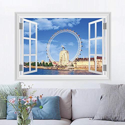 GemengTM 3D Stereo Aufkleber UK London Eye Simulation Fenster Schlafzimmer Wanddekoration Wandaufkleber