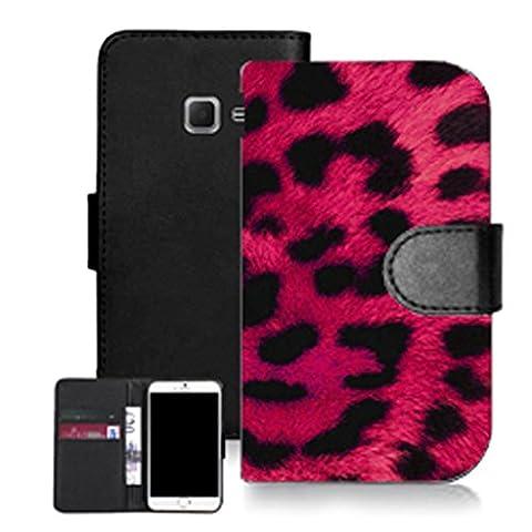 Mobile case mate noir pu porte-feuille en cuire coque etui case pour samsung galaxy a3 (2016) -pink cheetah print