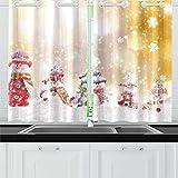 JOCHUAN Pupazzo di Neve di Natale Tende da Cucina Finestra Tende per Tende per caffè, Bagno, Lavanderia, Soggiorno Camera 26 x 39 Pollici 2 Pezzi