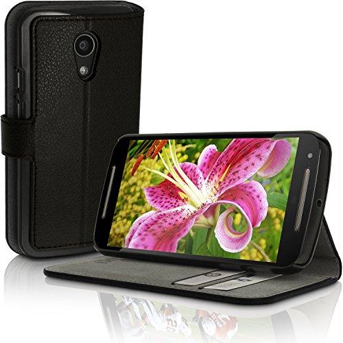 igadgitz U3463igadgitz Premium PU Leder Tasche Wallet Schutzhülle für Motorola Moto G 2. Generation 2014XT1068(G2) Leder Flip Case Cover mit Kartenschlitz und Standfunktion und Magnetverschluss und Displayschutzfolie–Schwarz