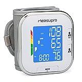 Measupro poignet tensiomètre numérique avec détection de la fréquence cardiaque, hypertension Alerte de couleur écran, deux modes utilisateur, indicateur Ihb et rappel de la mémoire