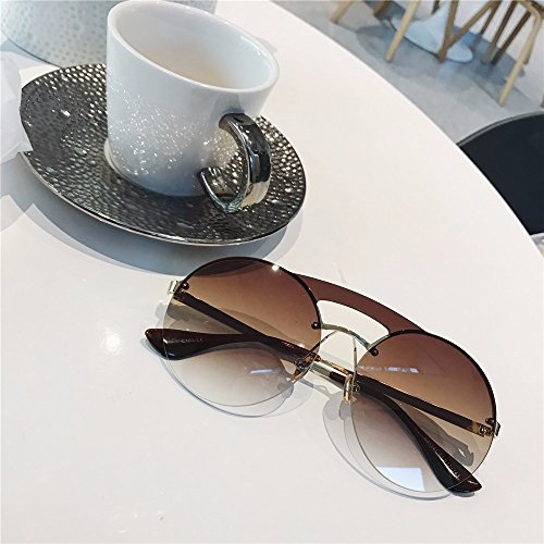 LXKMTYJ Tide Retro Double Beam Round Frame Sunglasses Personality Gradient Sunglasses Fashion Male Female Glasses