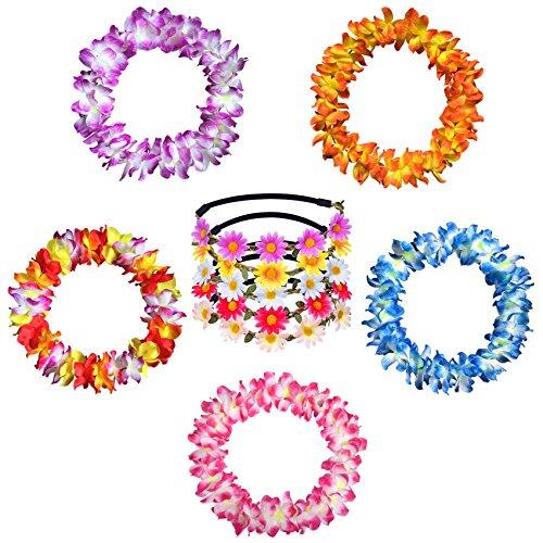 iLoveCos-Paquete-de-5-Guirnaldas-de-flores-hawaianas-Collar-e-Paquete-de-5-Venda-del-pelo-de-flores-para-Hawaiano-Luau-Fiesta-Tema-de-la-Playa