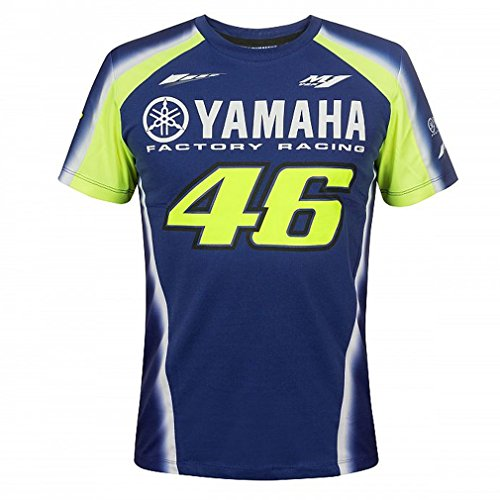 Preisvergleich Produktbild Valentino Rossi VR46 Moto GP M1 Yamaha Factory Racing Team T-shirt Offiziell 2018-XX-Large 124cm/49in Chest-Blue