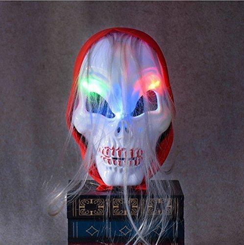 UChic 1 STÜCKE Halloween Make-Up Super Terror Ball Horror Maske Glänzend Weiß Zombie Roten Schal Mit Langen Lockigen Haar Zombie Schädel Licht Glühend Kalt Geist Maske