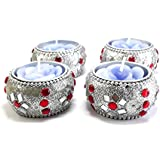LOF Diwali T-light Candle Silver Diya Lights Candle With Holder Home Decoration, Set Of 4