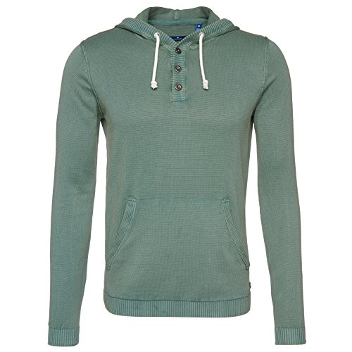 TOM TAILOR Messieurs Pull-over à capuche 100 % coton vert herbe