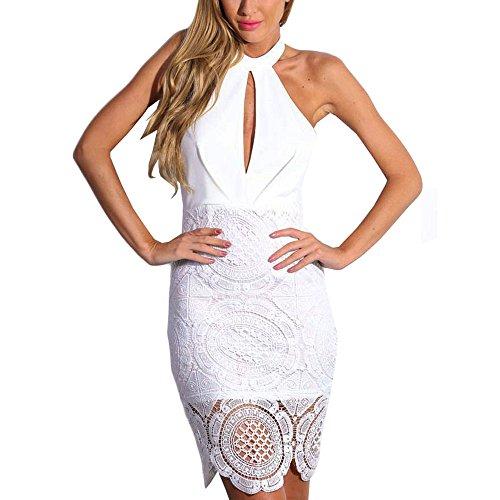 HLBandage Halter Ansatz Schlüsselrozette Blumenspitze Crochet Kunstseide Verband-Kleid(S,Weiß) (Crochet Halter)