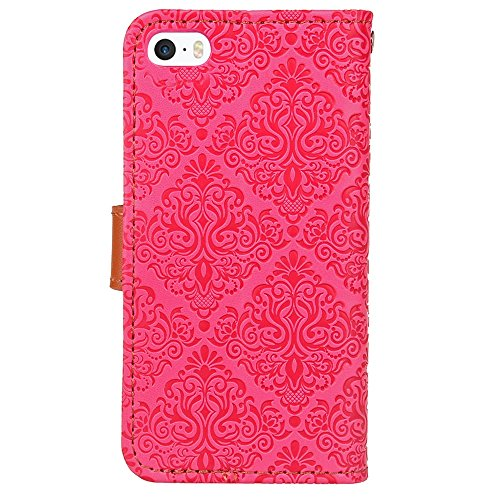 JIALUN-Telefon Fall Für Apple IPhone 5 5s SE Abdeckungs-Fall mit Einbauschlitz, magnetische Schnalle, mit Haltewinkel-Funktion öffnen Sie die Telefon-Shell ( Color : Purple ) Rose