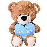 TE-Trend Plüsch Teddy Bär mit blauem Herz weiß bestickt Ich liebe dich 40cm Kuscheltier Teddybär braun Baby Kleinkind Stofftier