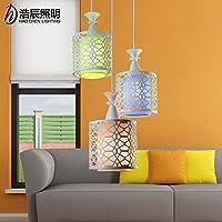 BGmdjcf Le lampade a LED Living Room 3 lampadari Ristorante e sala da pranzo con semplice e moderna illuminazione ferro colorata personalità Creative Bar , 3 lungo Bianco Lampada testa di copertura