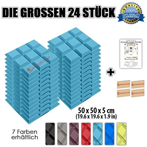 Super Dash (24 Pack) von 50 X 50 X 5 cm Hellblau Grid Bevel Decke Studio Akustikschaumstoff Noppenschaumstoff Akustik Dämmmatte Schallisolierung Schaumstoff Polster Fliesen SD1046 (HELLBLAU)