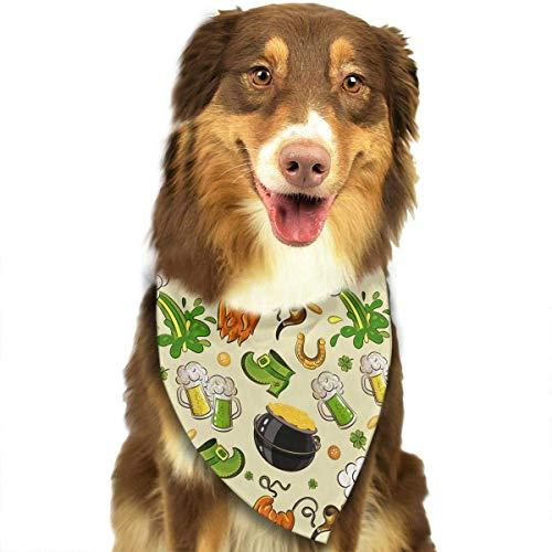 Wfispiy St. Patrick's Day Pattern weiche Baumwolle Klassische Tiere Bandana Haustier Hund Katze Dreieck ()