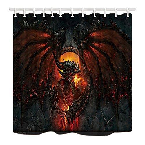Decor Gothic Dragon Fire Atmen Polyester-Schimmelresistent-Duschvorhänge Badezimmer Set mit Ringen, 179,8x 179,8cm ()