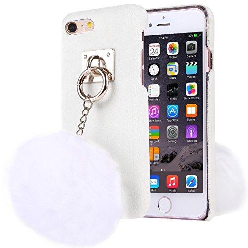 Phone case & Hülle Für iPhone 6 Plus / 6s Plus, Stoffabdeckung PC Schutzhülle mit Pelzkugel Kettenanhänger ( Color : Black ) White