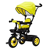 DUOER-Poussettes 3 roues Dossier inclinable siège pivotant Amovible Enfants Enfants Tricycle Tricycle Wning adapté pour 6 Mois -5 Ans Enfants (Color : Yellow)