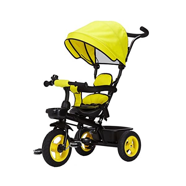 Detachable Rotating Seat Reclining Backrest Kids Children Trike Tricycle Wning Suitable for 6 Months -5 Years Old Kids (Color : Yellow) DUOER-Pushchairs Features assembled canopies without worrying about rain and sunshine,Safety features and safety belts are provided for safety. The pedal can be folded for more convenient use: the pedal can be folded to make travel more convenient. Upgrade the thickened sponge pillow to protect the baby's head and make the baby ride safer. 1