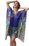 JOLIDON – PRELUDE – Kaftan Robe de Plage Courte Luxe – 100% Européen – Aspect Soie – Légère – Soyeuse – Imprimé – Femme – Taille Unique