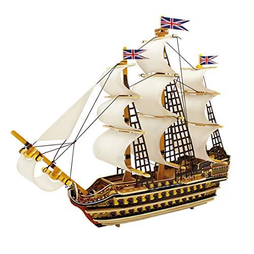 GODNECE Modellbausatz Schiff Holz 3D Bausatz Holz Modellbausatz 3D Puzzle Model Holzbausatz für Erwachsene und Kinder (HMS-Sieg)