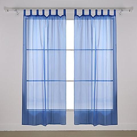 Deconovo Gardinen aus Voile Schlaufenschal Transparent Vorhang Transparent 175x140 cm Blau 2er set